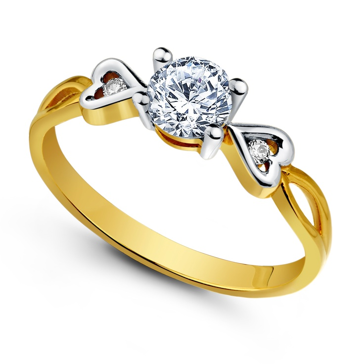 Gold ring. Two hearts shape