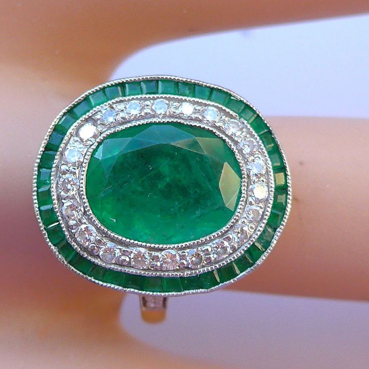 Art Deco Style Emerald and Diamond Ring. This is a lovely natural coloured stone with typical Emerald Jardin inclusions. It is set in 18 carat gold and platinum or white gold. Fabulous Natural Emerald ring - wow this is stunning! | eBay!