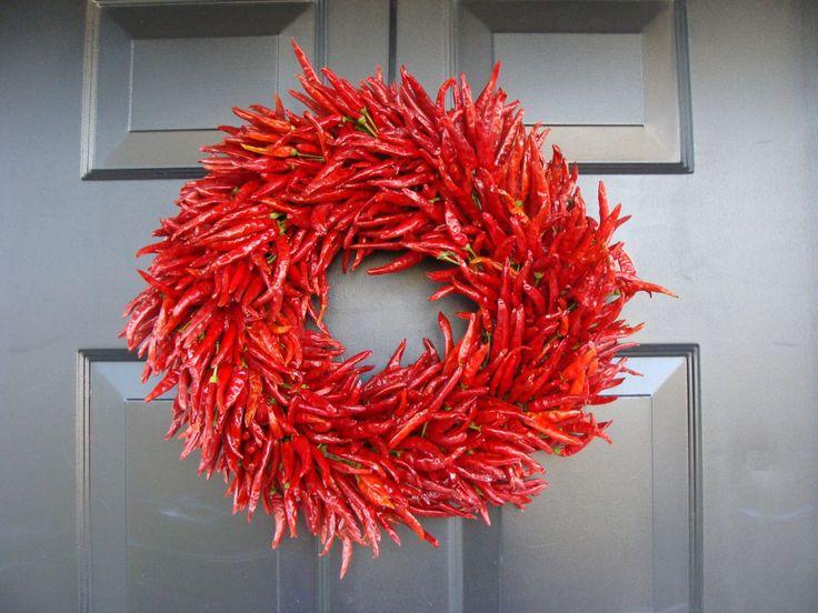 Organic Red Chili Pepper Wreath Kitchen Centerpiece Wall Decor Housewarming Gift Herb