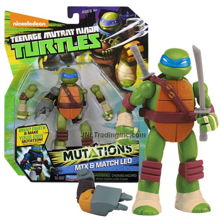 """Playmates Teenage Mutant Ninja Turtles TMNT """"Mutations Mix and Match"""" Series 5"""" Tall Figure - LEO with 2 Katana Swords and Metalhead Right Arm"""