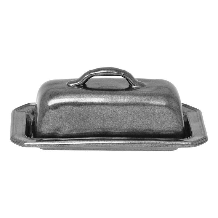 Pewter Stoneware Butter Dish