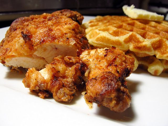 Southern Chicken and Waffles; Recipe for chicken strips made from chicken breast halves.  Recipe includes directions for homemade waffles as well.  Add butter, syrup, love, and oh my heaven....the south will rise!