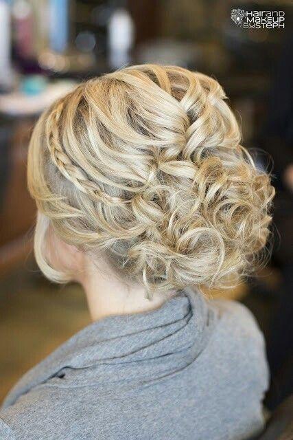 Curls w/Side Braid Wedding Updo