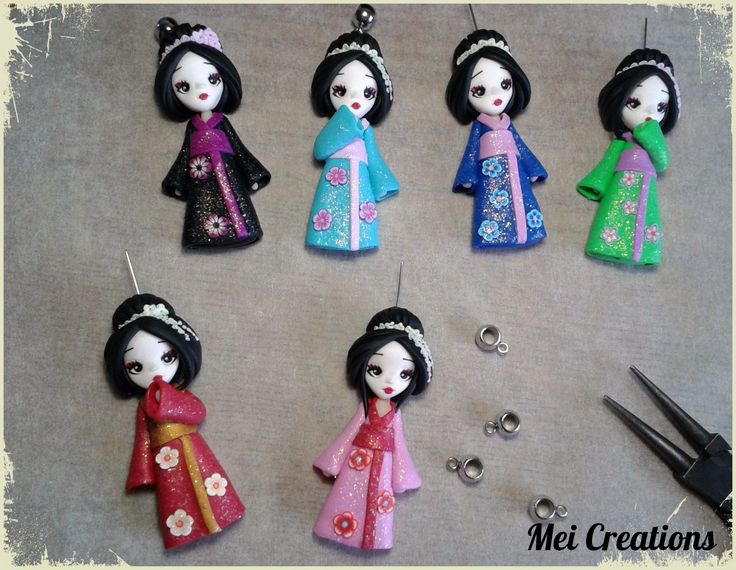 Awesome Geishe Bamboline In Fimo, Handmade Polymer Clay Dolls.