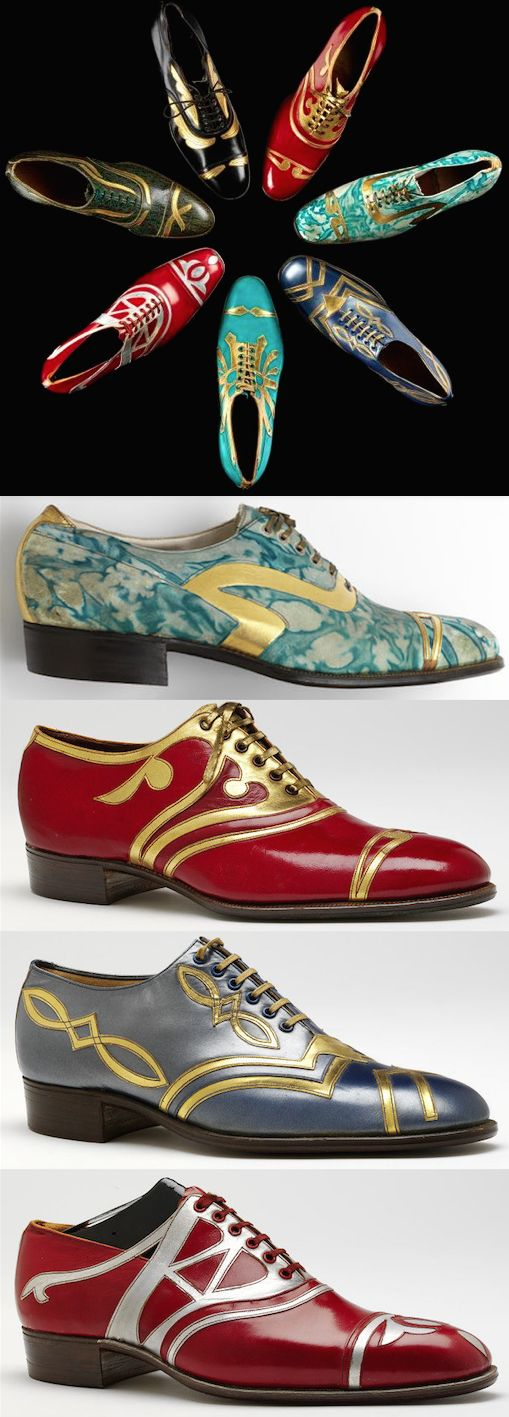 Men's shoes, c. 1925, Coxton Shoe Co. Ltd., Rushden, England. The bottom shoe was made for the London International Shoe Fair in 1925.  |  Victoria & Albert Museum