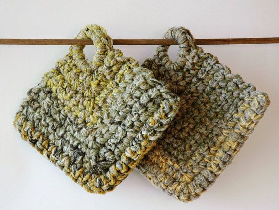 2 pot holders with loops in shades of green and yellow by KororaCrafters