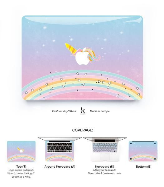 MacBook decal skin cover with UNICORN RAINBOW. Made to protect and look fabulous. Easy to apply with no bubbles and goo-free removal. Made in Europe!