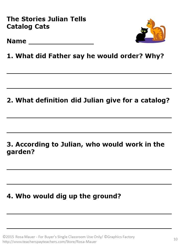 {Stories Julian Tells Worksheets Cockpito – The Stories Julian Tells Worksheets