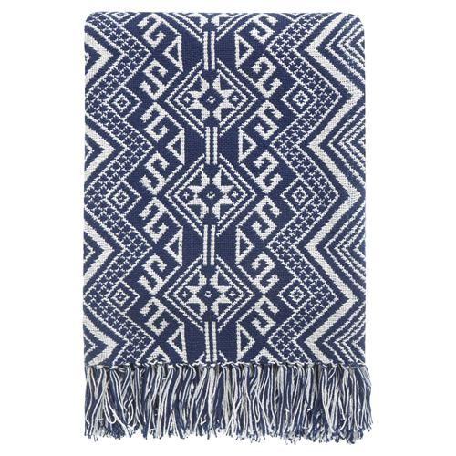 Kenton Global Bazaar Navy Tribal Woven Blanket