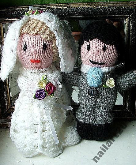 ślub para młoda z włóczki  unikat okazja WYPRZEDAŻ