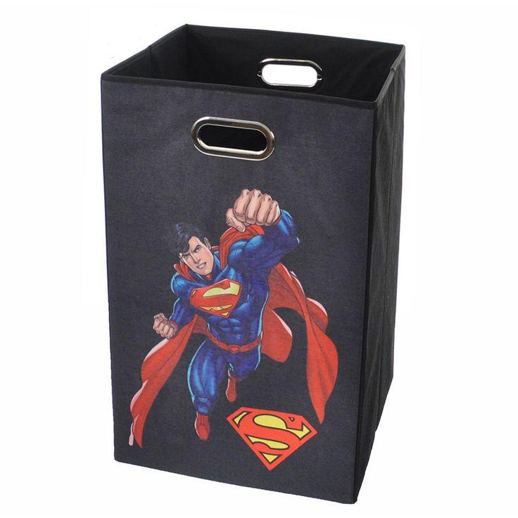 DC Comics Superman Collapsible Laundry Basket, Black