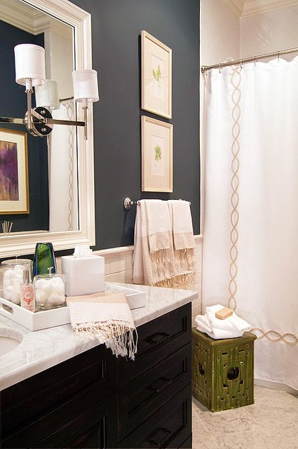 love the color of the bathroom - slate gray/dark blue with a cream/tan