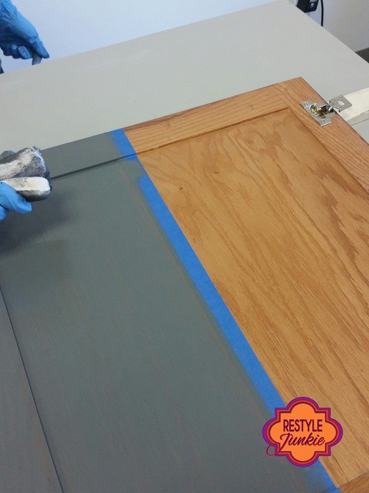 "Restyle Junkie of Phoenix, AZ gives us a great visual of GF's Gray Gel Stain! Restyle Junkie says, ""Ever wonder what General Finishes Gray Gel Stain looks like? This is only one coat over a honey oak graham cracker cabinet. It needs another coat, but it's already pretty."""
