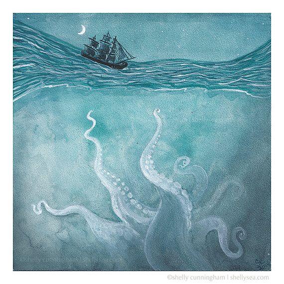 Kraken Kills whimsical sea illustration of a by IrishShells
