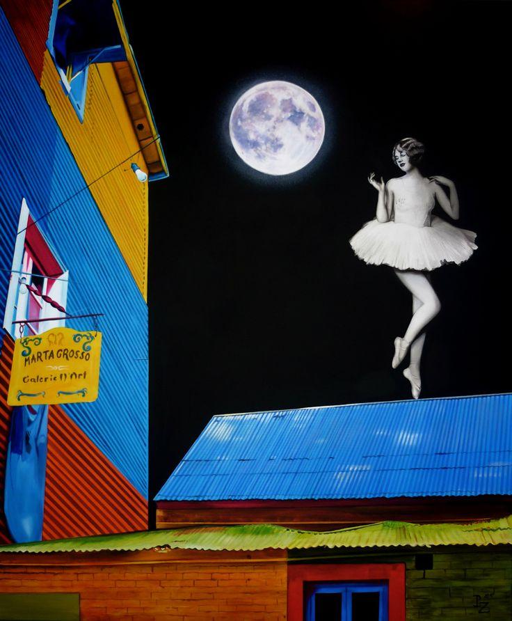 www.paulinazalewska.com Rozmowa z księżycem, wymiary : 120,0 cm. x 100,0 cm. technika: akryl, płótno / 2014