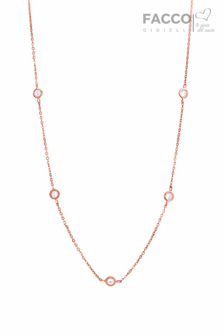 Collana donna, Facco Gioielli, in oro rosa 750‰, con zirconi punto luce.
