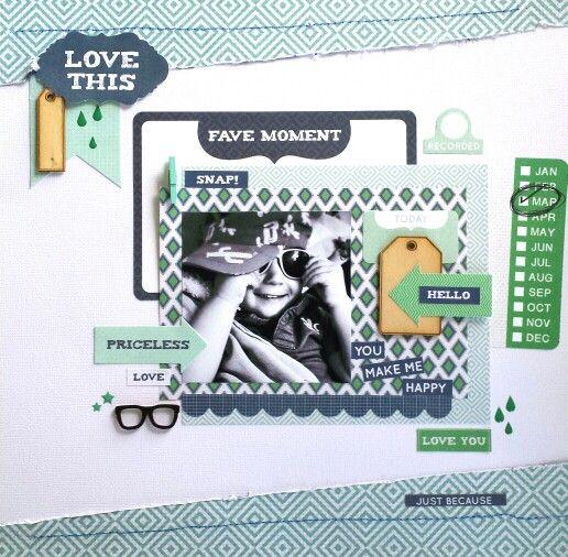 Kaisercraft : Fiesta Collection : Fave Moment layout by Amanda Baldwin