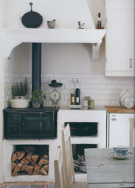 European kitchen with wood fired stove