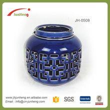 Regalos y Artesanía titular de la vela de cerámica vidriada azul que cuelga el mini linterna marroquí