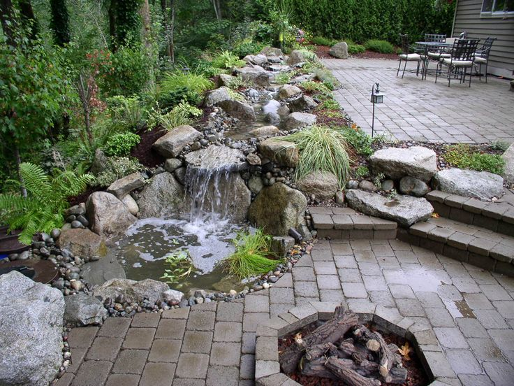 104 best projects me rock garden dry river bed images on for Backyard streams and waterfalls