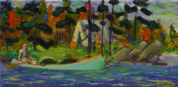 Day Trip from Artist's Camp - Tom Thomson in Algonquin Park - Mixed Media on Canvas  Katie Ohlke