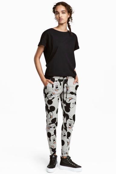 Pantalon jogger en jersey - Gris/Mickey - FEMME   H&M FR