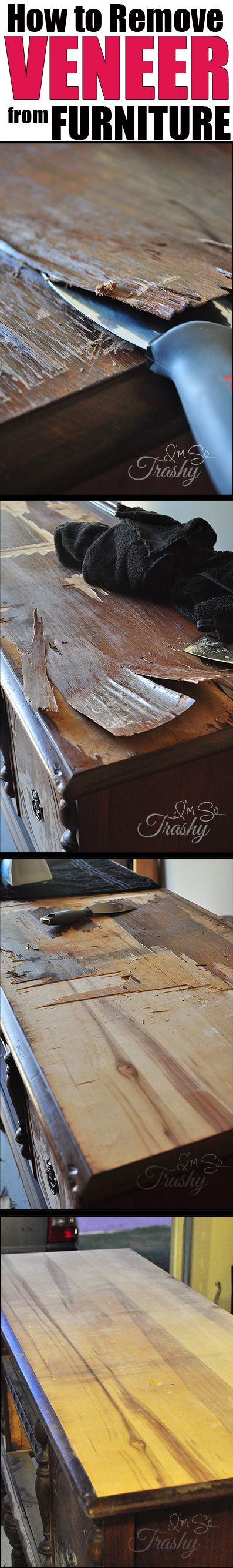 How to Remove Veneer from Furniture. Safe, effective and so very easy!