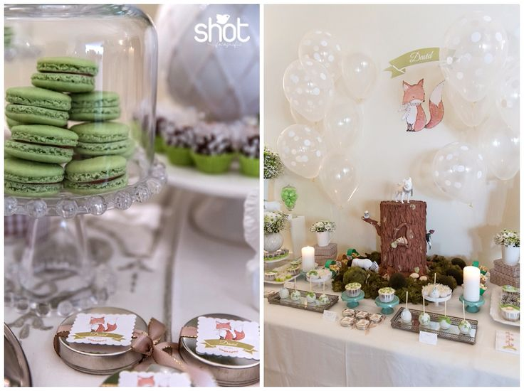 Decoration of the guests tables with flowers with the colour theme of the party and white animals.