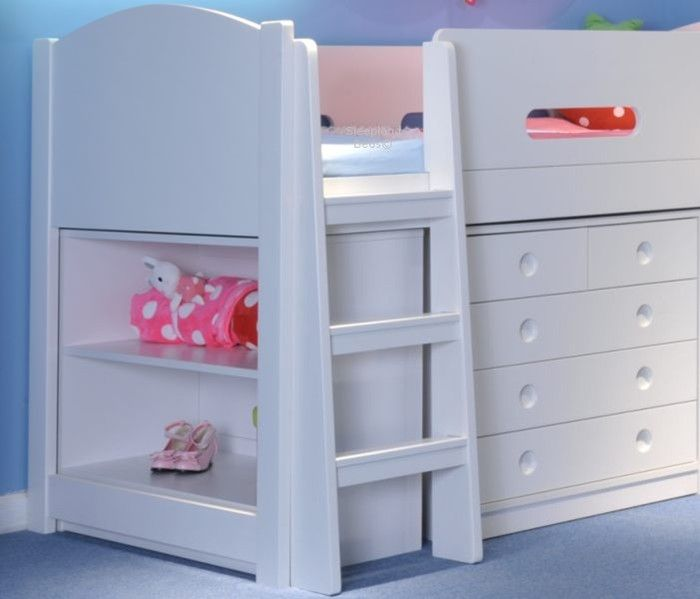 Elegant White Wooden Childrens Mid Sleeper Bed With Desk And Storage