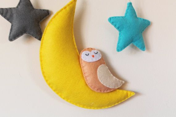Moon Stars and Owl Wall Hanging/Mobile by TinyHappyBee on Etsy