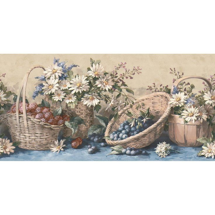 Waverly 5505611 Country Baskets And Sunflowers Wall Border, Blue