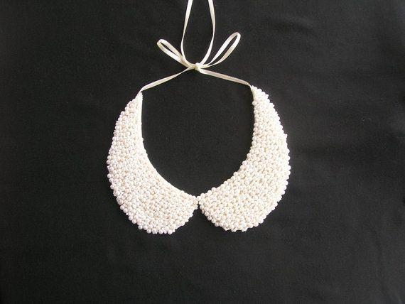 Handmade white colored pearl peter pan collar collar by NurayAytac