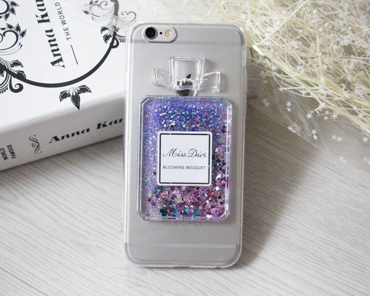 Coque iPhone SE/6S/6S plus Miss Dior paillettes liquide bouteille parfum
