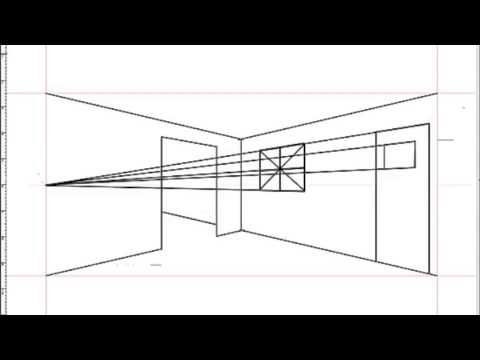 How to draw an interior space using two point perspective