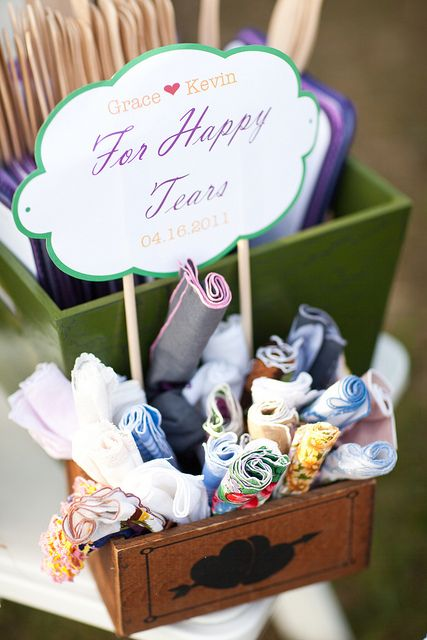 We love the idea of having handkerchiefs or tissues for your guests! #weddingideas