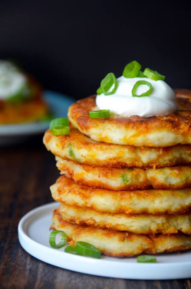 Cheesy Leftover Mashed Potato Pancakes from justataste.com #recipe