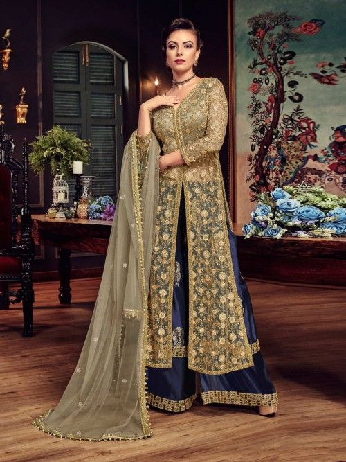 c9d521cfcce Pristine gold wedding lehenga suit online which is crafted from net fabric  with exclusive stone