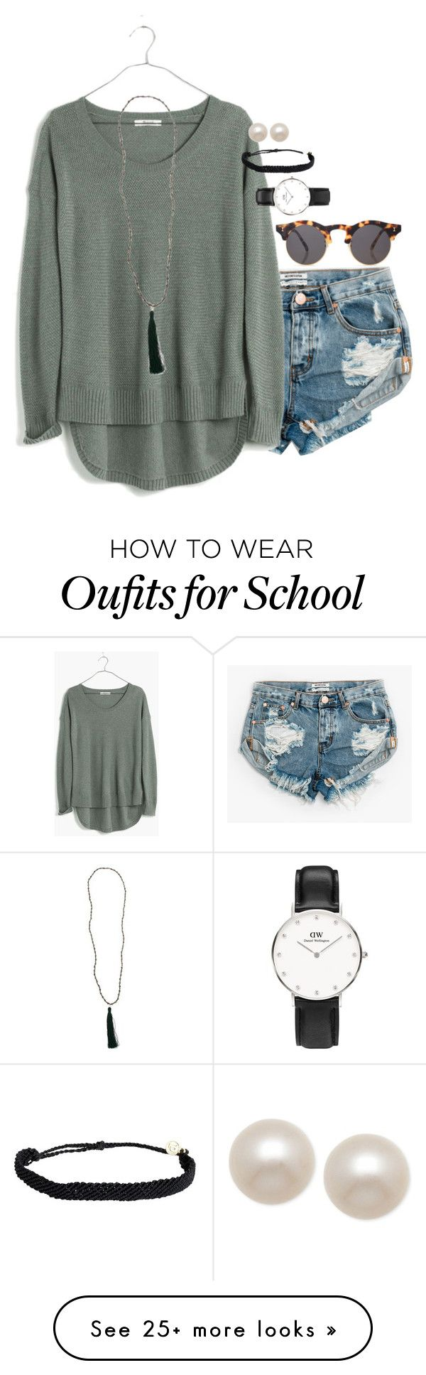 """""""I might be going to public school!! but i would have to wear a uniform:((("""" by smbprep on Polyvore featuring One Teaspoon, Madewell, New Directions, Illesteva, Pura Vida, Honora and Daniel Wellington"""