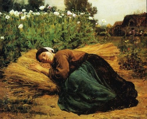 A Rest in the Fields, 1866 - Jules Breton (French, 1827-1906) Realism