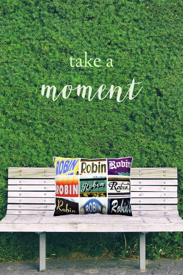 Custom throw pillow featuring the name ROBIN (and other names) in photos of actual signs! Makes a great gift for Mom this Mother's Day, Dad this Father's Day, or anyone :-)