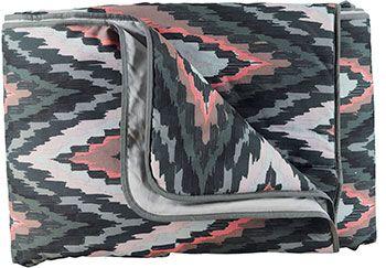 Bomuld grå/rosa/koral abstrakt print - Stof & Stil