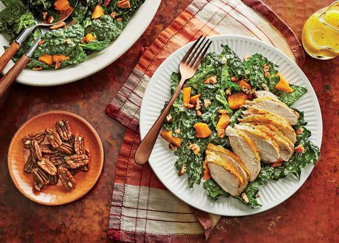 If your kids haven't jumped on the kale bandwagon yet, try this salad with spinach or chopped romaine hearts. The candied pecans add sweetness and crunch to this simple salad, while roasted sweet potato cubes and savory chicken add hearty substance. A light dressing of lemon juice, Dijon mustard, honey, and olive oil is the perfect fresh finishing touch. This salad makes for a great lunch or dinner.