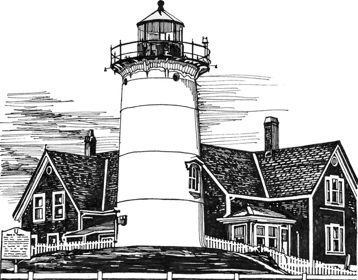 Pemaquid Point Lighthouse Drawing by Mariarosa Rockefeller   Cape Fear Lighthouse Line Drawing