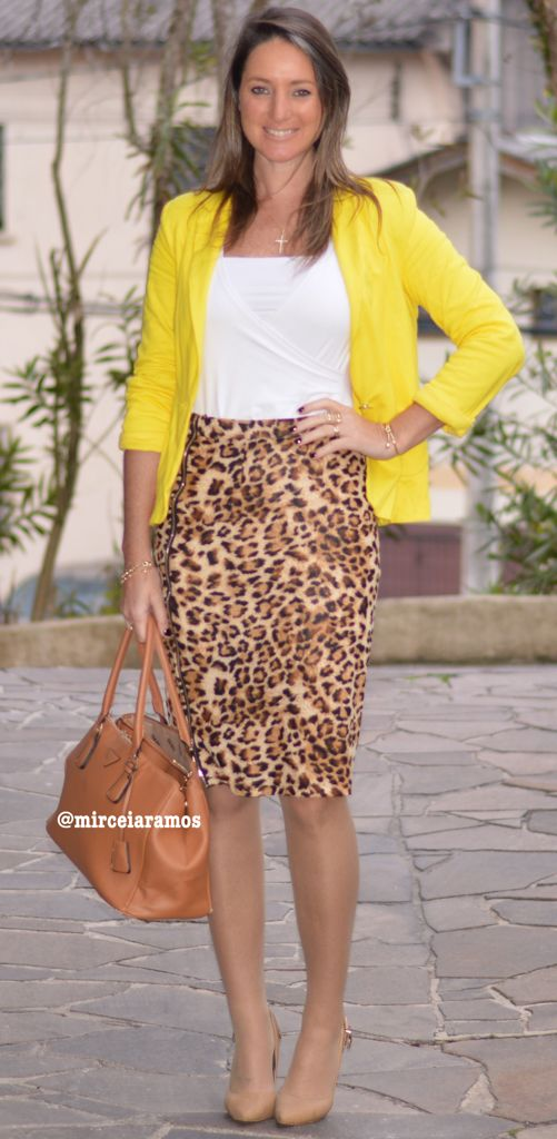 Look de trabalho - look do dia- moda corporativa - saia animal print - leopard pencil skirt - blazer amarelo - yellow jacket - Work outfit - office