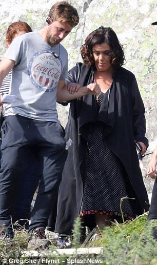 Dawn French sexes up look in leather on set of Delicious | Daily Mail Online