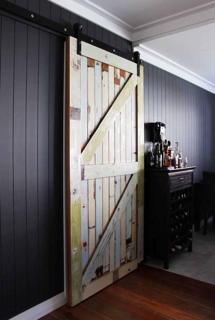 Bungalow Renovation. Reclaimed wood door, Resene Karen Walker Fuscous Grey Paint.