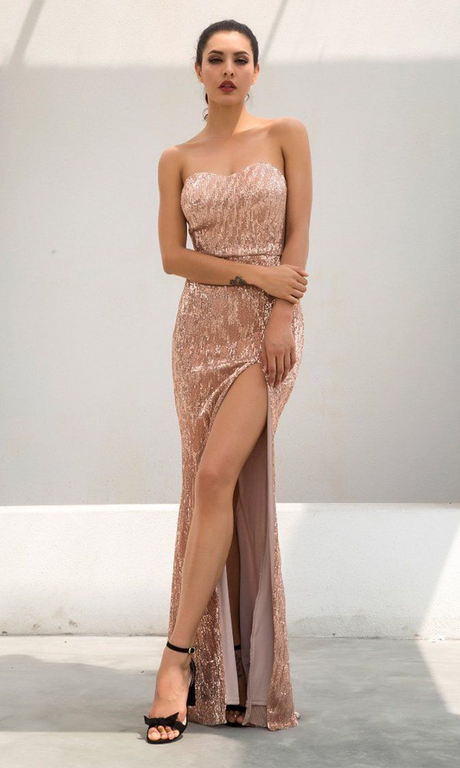 c3b32c383223 Show Me Some Love Champagne Sequin Strapless Sweetheart Neck High Slit  Fishtail Maxi Dress
