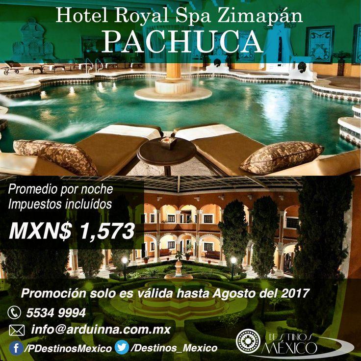 Hotel Royal Spa Zimapán en Pachuca  Este lujoso hotel con su construcción tipo hacienda se ubica a 10 minutos de Zimapán, a dos horas de Pachuca. Cuenta con bellos jardines y es el lugar ideal para dejar atrás el stress.