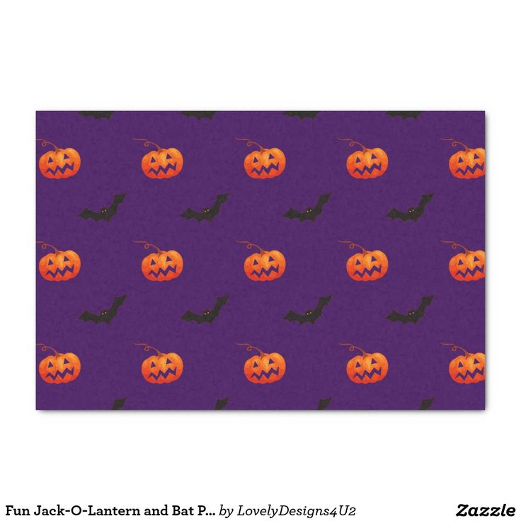 "Fun Jack-O-Lantern and Bat Pattern on Purple 10"" X 15"" Tissue Paper"
