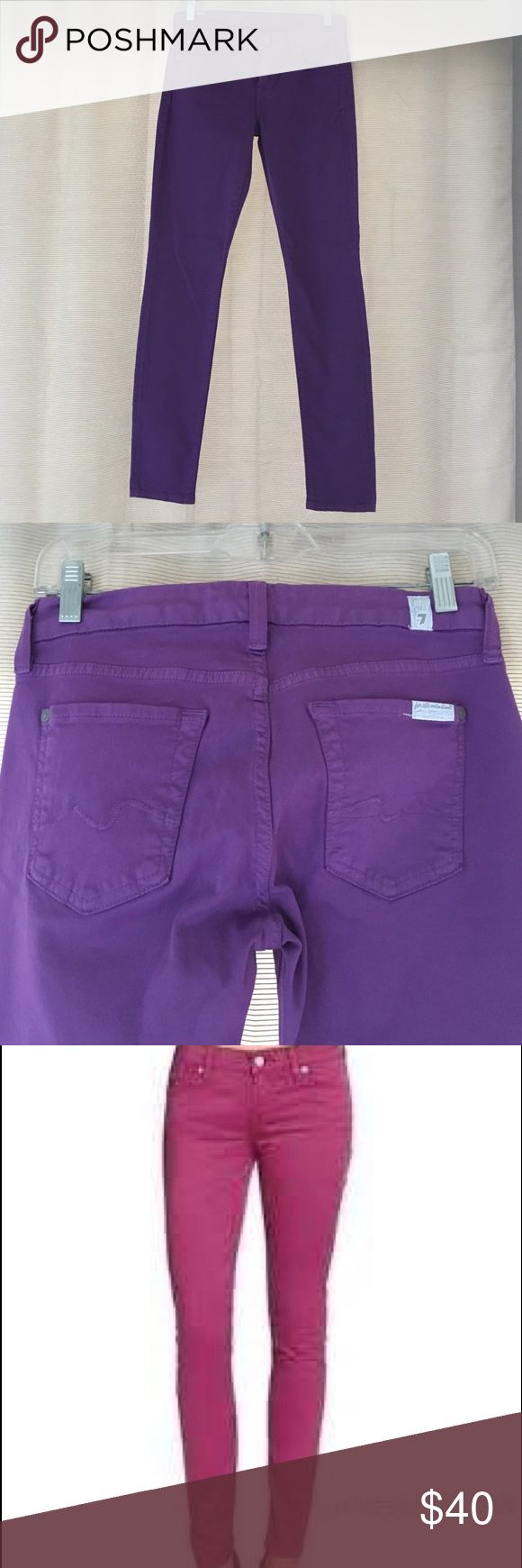 NWOT 7 For All Mankind purple skinny jeans Brand new, never worn! Purple 'gwenevere' skinny jeans. Size 25 7 for all Mankind Jeans Skinny